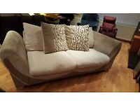 Beige and brown 3 seater sofa in excellent condition, will deliver, £120