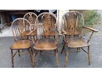 6 dining chairs,solid oak,wheel back,carved,stable,Jaycee,2 carvers,no table