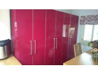 RED HIGH GLOSS TALL KITCHEN LARDER UNITS