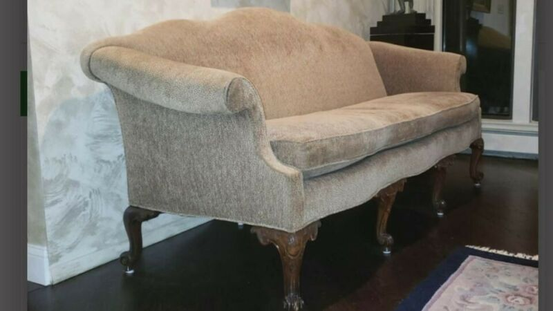 Vintage Camelback Sofa with Queen Anne Legs-Brown