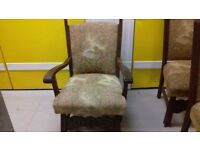 1 carved dining chair,carver,solid oak,sturdy,stable,cushion not clean,no table