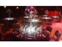 20 Tall Silver Wedding Table Vases and Silk Flowers