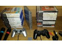 ps2 slim bundle in silver includes 2 mikes and a large lot of games singstarr