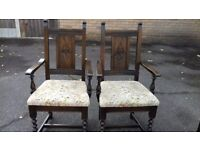 2 dining chairs,genuine Old charm,solid oak,carved,stable,2 carvers,no table