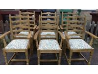 6 dining chairs,oak,carved back,ladder back,cushion clean,stable,6 carvers