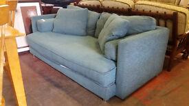 M&S teal blue sofa on chrome legs