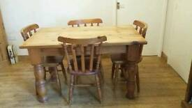 Solid pine table & chairs and sideboard