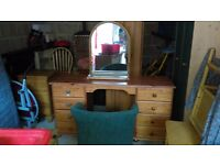 pine dressing table chair and mirror - free local delivery
