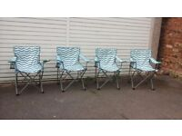 x4 Camping/Picnic/Beach/Festival Folding Chairs with drink holder + matching picnic rug