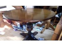 Round dining table, Jaycee Furniture, solid oak, extendable,carved, VGC, Made in England,110 -160cm