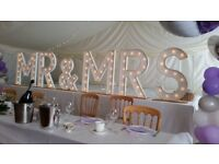 """Wedding """"MR & MRS"""" illuminated letters 92cm (3ft) high for hire."""