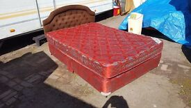 Double divan bed with mattress and headboard. Good condition.