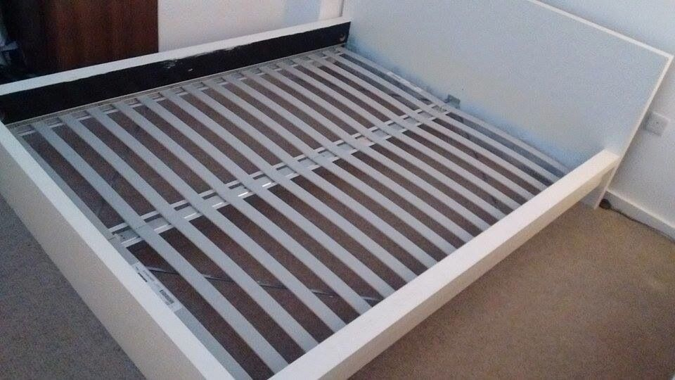 ikea queen size double bed white w lur y slats and free sultan hamnvik mattress in. Black Bedroom Furniture Sets. Home Design Ideas