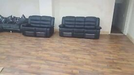 Special offer recliner leather sofas 3 + 2 in black a limited in stock brand new