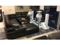 LUXURY GRAND CORNER SUITE - BLACK LEATHER WHITE STITCHING - EXCLUSIVE TO MFS - DELIVERED