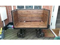 Solid gorgeous steel trolley bench chair with wheels