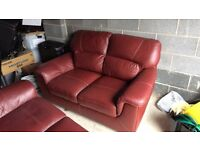 3 Seater & 2 Seater Red Leather Suite (excellent Condition)