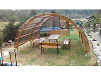 Unique Curved Wooden Garden Hand Made Massive Gazebo / Pavilion / Pergola with a set of furniture