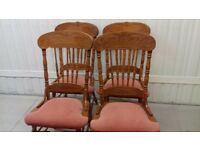 4 dining chairs, solid oak, carved back, high back, stable,no table