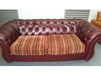 BROWN LEATHER AND FABRIC CHESTERFIELD SOFA