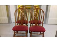 4 carved dining chairs,solid oak,sturdy,stable,high back,cushion clean,stable, no table