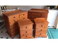 Antique Pine Bedroom Set of Drawers