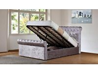 Best Furniture-Double/King Size Crush Velvet OTTOMAN Sleigh Bed IN GREY COLOR Frame W Opt Mattress