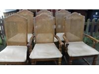 6 dining chairs,solid oak,carved,rattan back,stable,2 carvers,1 broken,no table