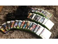 X BOX 360 PLUS 3 CONTROLLERS, 2 HEADSETS, KINNECT AND 31 GAMES