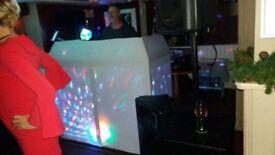 FULL DJ SET UP, WIRES, LIGHTS, BOOTH