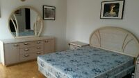 Full bedroom set Queen bed, 2 night tables, Dresser and a mirror