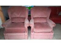 2x Vintage G Plan recliner chairs - faded dusky pink - ideal for recovering or shabby look