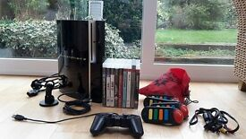 80GB PS3 - GOOD CONDITION + CONTROLLER + HEADSET + 9 GAMES + BUZZ CONTROLLERS + HDMI CABLE