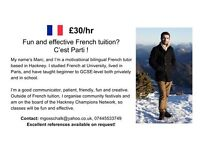 French Tutor - fun and effective tuition, £30/hr