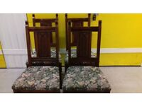 4 dining chairs,genuine Old charm,solid oak,carved,stable,no carver, made in England!! no table
