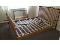 Double wooden bed frame, wood bed, solid, very stable in excelent condition.