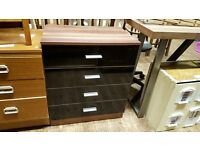 Black gloss fronted chest of drawers. Good condition.