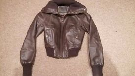 New Look Brown cropped Leather Jacket Size 8