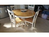 Sturdy round dining table & 4 chairs