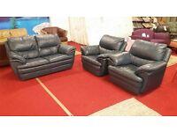 3 piece blue leather suite