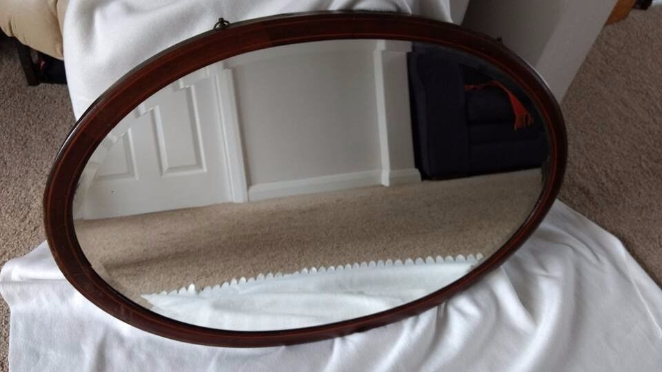 Antique Victorian Oval Mahogany Mirror