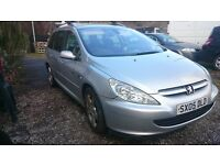 PEUGEOT 307 2.00 HDI ESTATE 6 SPEED 136 hp QUICKSILVER Towbar belted as 7 seater cheap diesel car.