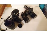 Cannon cameras x2 a flash and three lenses