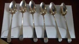 6 George III tea spoons,solid silver,1778,hallmarked,London,antique,VGC