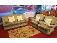 3 piece green fabric floral style suite with cushions