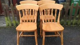 4 dining chairs,solid oak,carved back,spindle,good physical condition, VGC