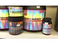 Reflex whey protein pre workout creatine L glutamine supplements
