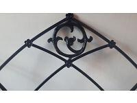 Beautiful black ornate metal double head board. Advertised again due to timewasters.