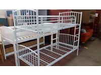 White metal bunk bed frame (no mattress)