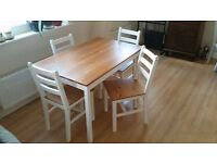 White - Wooden Dining Table and 4 Chairs Set